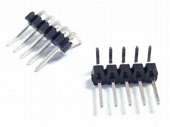 Header enkel 5 pins 2,54mm haaks
