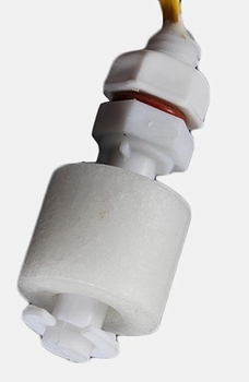 Small float level control switch with connection wires