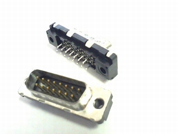 Sub D 15 pins male connector for PCB