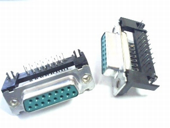 Sub D 15 pins female connector 90 degrees