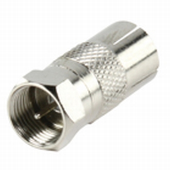 F-connector to coax female adapter.