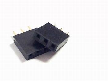 Female Header 2,54 mm recht, 1 x 3