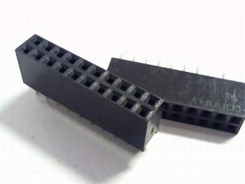 Female Header 2,54 mm recht, 2 x 10