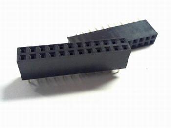 Female Header 2,54 mm recht, 2 x 12
