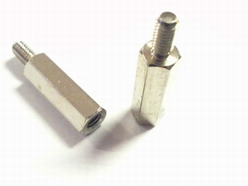 Metal distance holder 15mm with screw-end