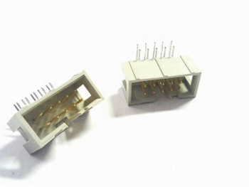 Male boxed header hooked 2x5 pins RM 2,54mm