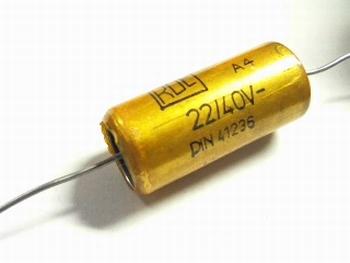 Electrolytische bipolaire condensator  ROE 22 uF 40 Volt
