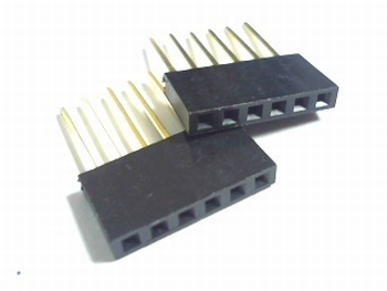 Female Header 2,54 mm straight 1 x 6 with long connector pin
