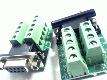 Sub D connector female 9 pole on PCB with screw connections