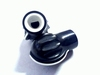 Knob black round for 4mm shaft with flat side