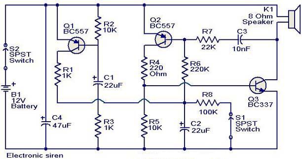 Electronic circuit for siren