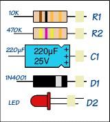 elko, weerstanden, led en diode